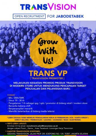 Foto: Lowongan Kerja Trans VP (Transvision Promoter)